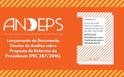 Andeps lança documento técnico de análise sobre proposta de Reforma da Previdência (PEC 287/2016).