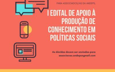Andeps lança o I Edital de Apoio à Produção de Conhecimento em Políticas Sociais