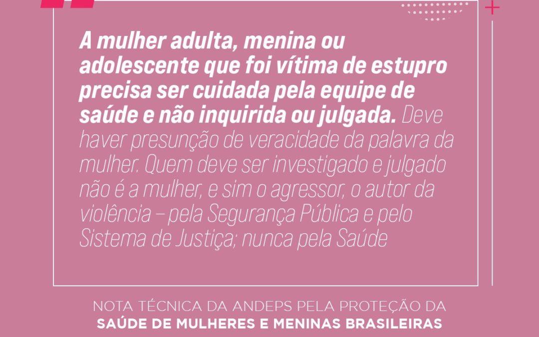 Nota técnica da ANDEPS pela proteção da saúde de mulheres e meninas brasileiras